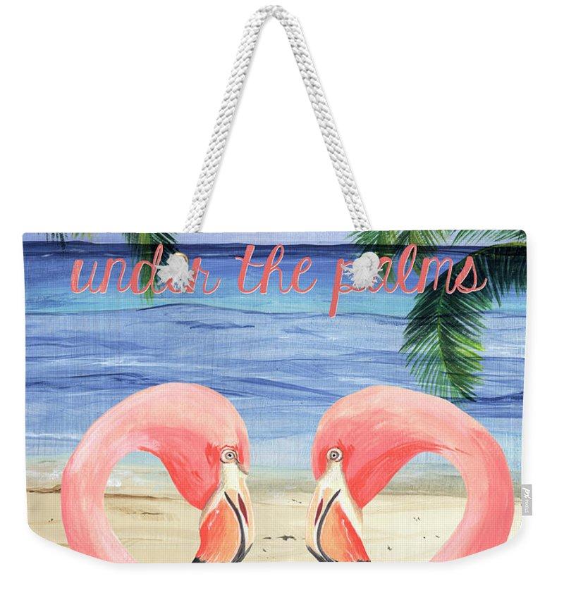 Flamingo Weekender Tote Bag featuring the painting Under The Palms by Debbie DeWitt