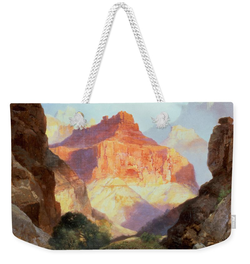 Under Under The Red Wall Weekender Tote Bag featuring the painting Under The Red Wall by Thomas Moran