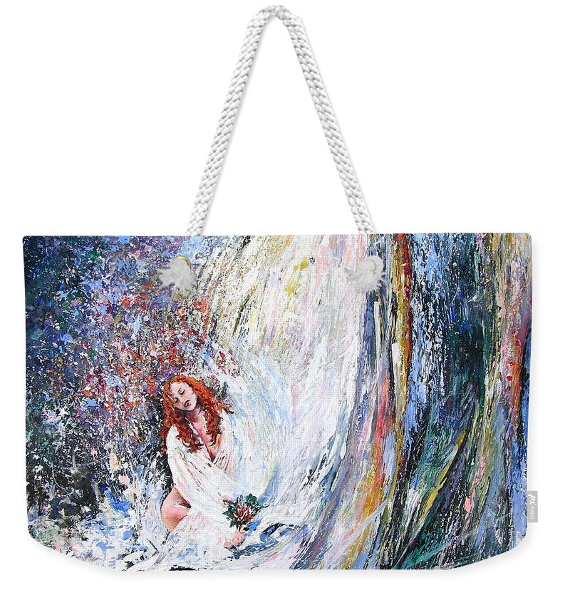Acrylics Painting Woman Under Waterfall Weekender Tote Bag featuring the Under The Waterfall by Miki De Goodaboom