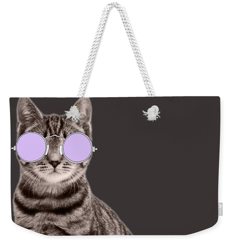 Undercover Cat Weekender Tote Bag featuring the photograph Undercover Cat by Priscilla Wolfe