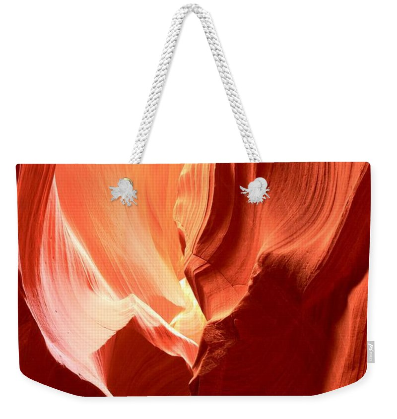 Upper Antelop Weekender Tote Bag featuring the photograph Underground Pastel Flames by Adam Jewell