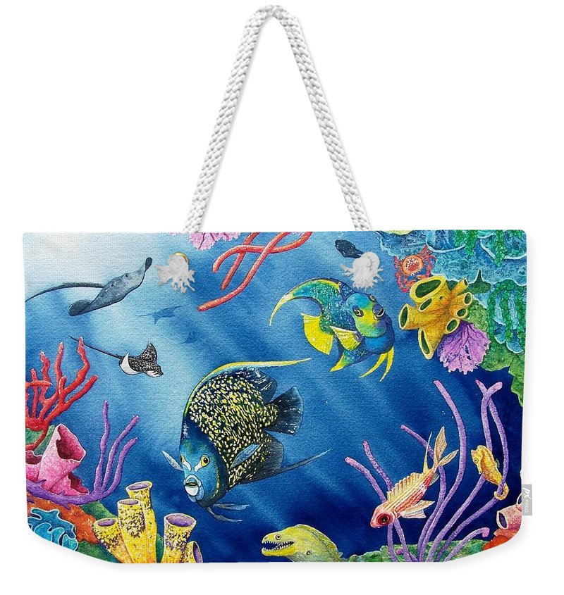 Undersea Weekender Tote Bag featuring the painting Undersea Garden by Gale Cochran-Smith