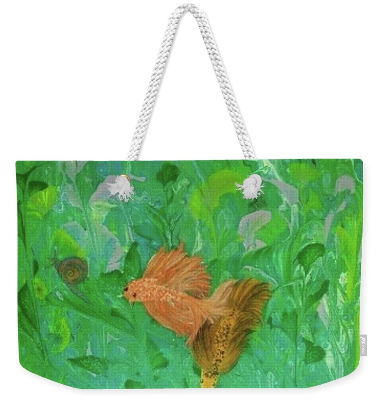 Abstract Weekender Tote Bag featuring the painting Underwater Garden by Diana Robbins