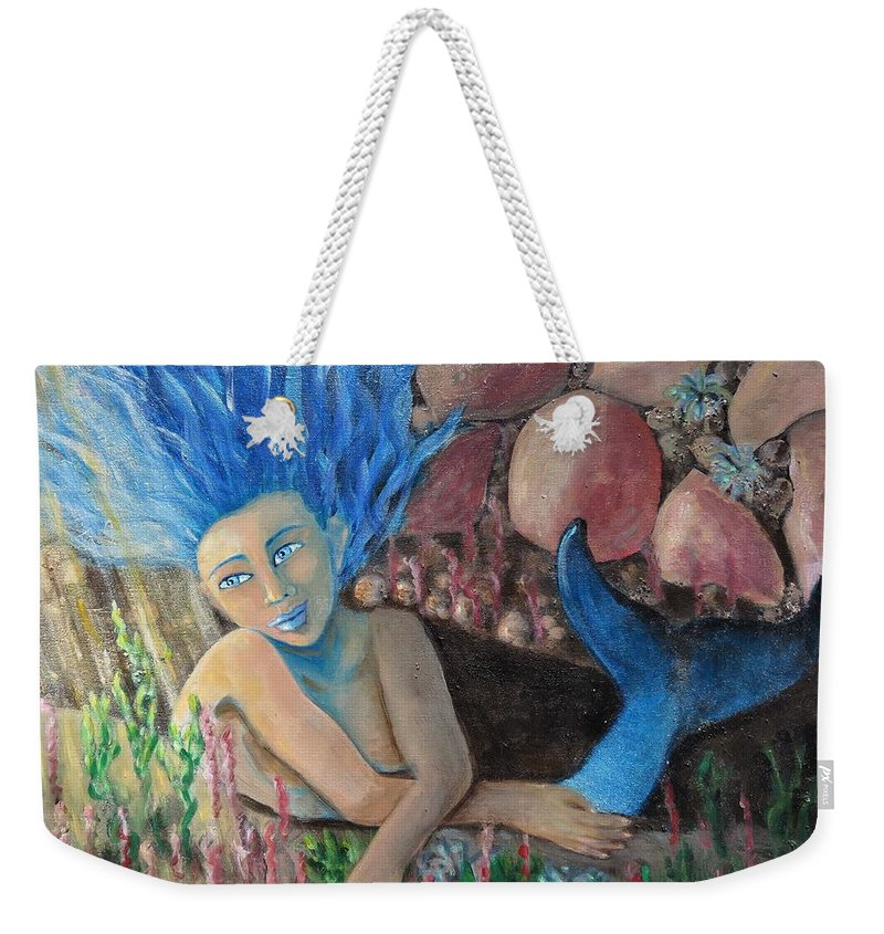 Mermaid Weekender Tote Bag featuring the painting Underwater Wondering by Laurie Morgan