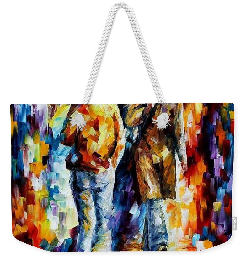 Afremov Weekender Tote Bag featuring the painting Unexpected Meeting by Leonid Afremov