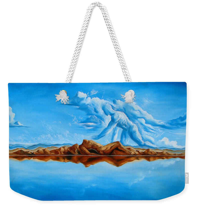 Surrealism Weekender Tote Bag featuring the painting Unfinished Business by Darwin Leon
