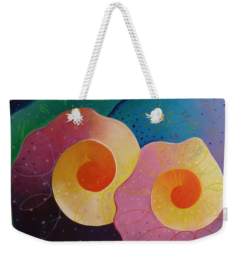 Universal Weekender Tote Bag featuring the painting Unfolding by Helena Tiainen