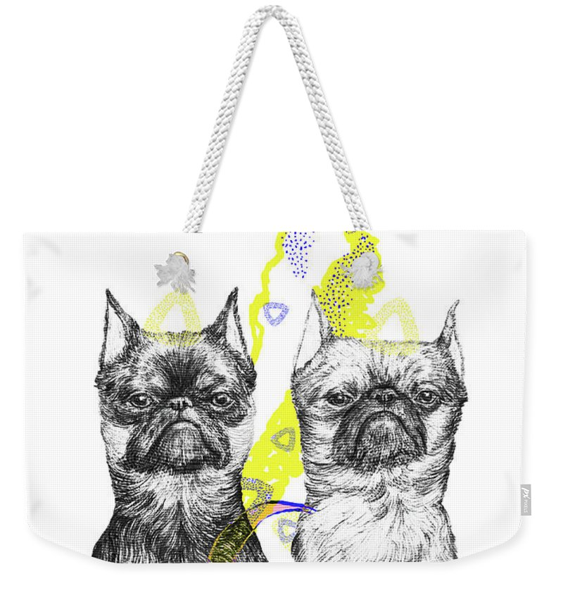 Dog Art Weekender Tote Bag featuring the drawing Unhappy by Elizaveta Mikheeva
