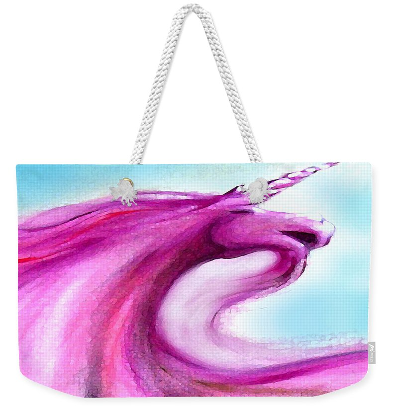 Unicorn Weekender Tote Bag featuring the painting Unicorn by Kevin Middleton