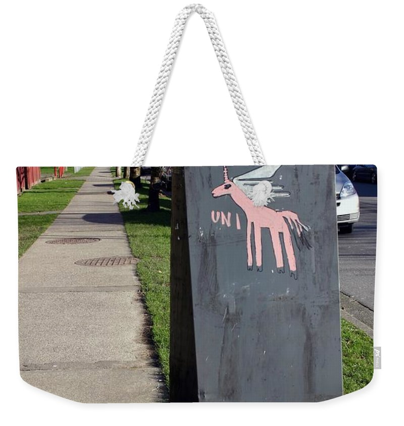 Mail Box Weekender Tote Bag featuring the photograph Unicorn Mail Delivery by Minaz Jantz
