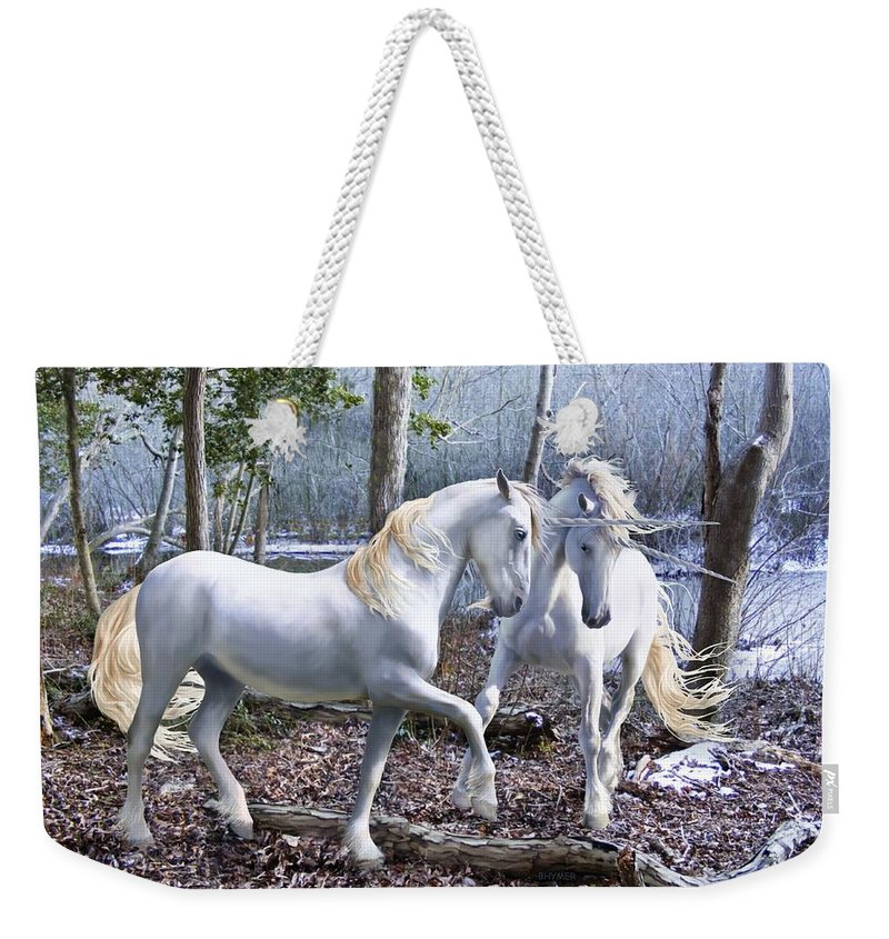 Unicorn Weekender Tote Bag featuring the photograph Unicorn Reunion by Barbara Hymer