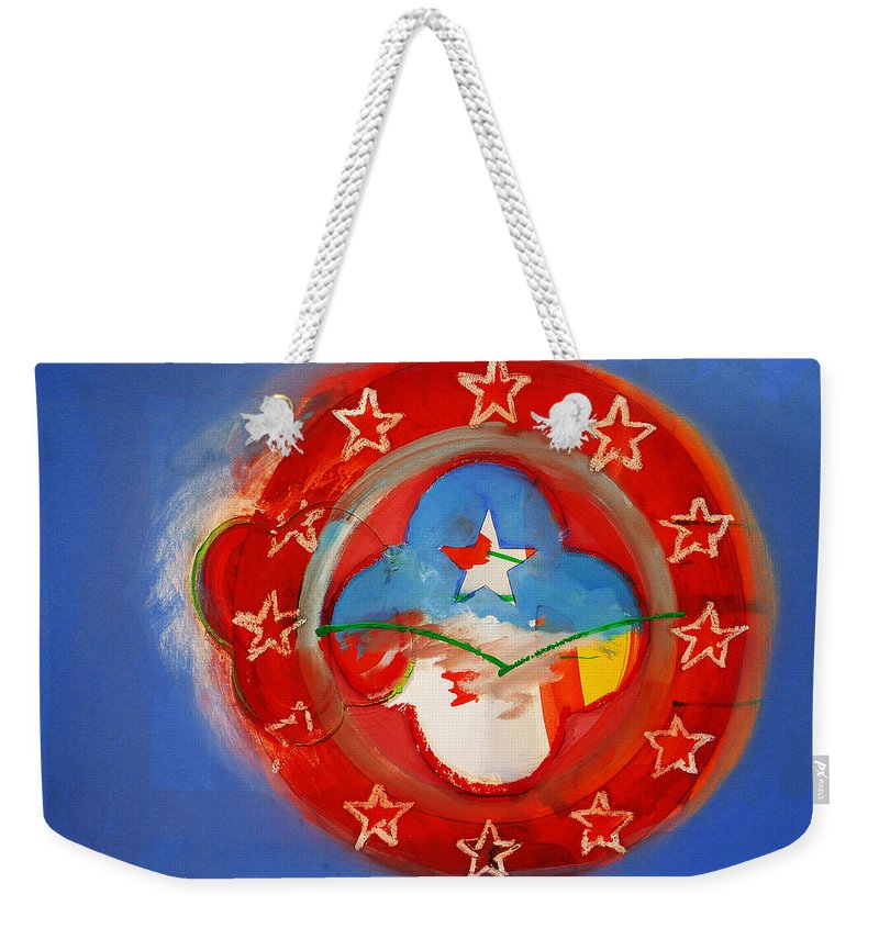 Symbol Weekender Tote Bag featuring the painting Union Blue by Charles Stuart