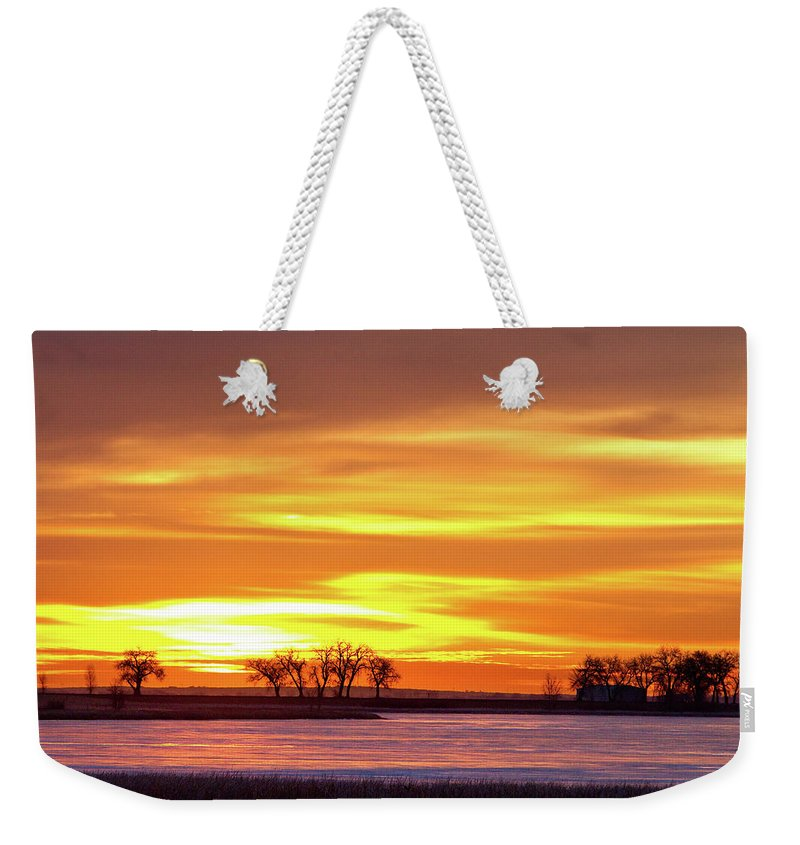 canvas Print Weekender Tote Bag featuring the photograph Union Reservoir Sunrise Feb 17 2011 Canvas Print by James BO Insogna