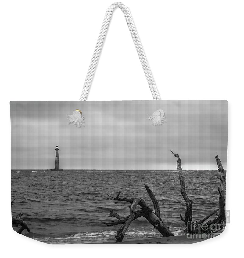Morris Island Lighthouse Weekender Tote Bag featuring the photograph Unique Morris Island View by Dale Powell