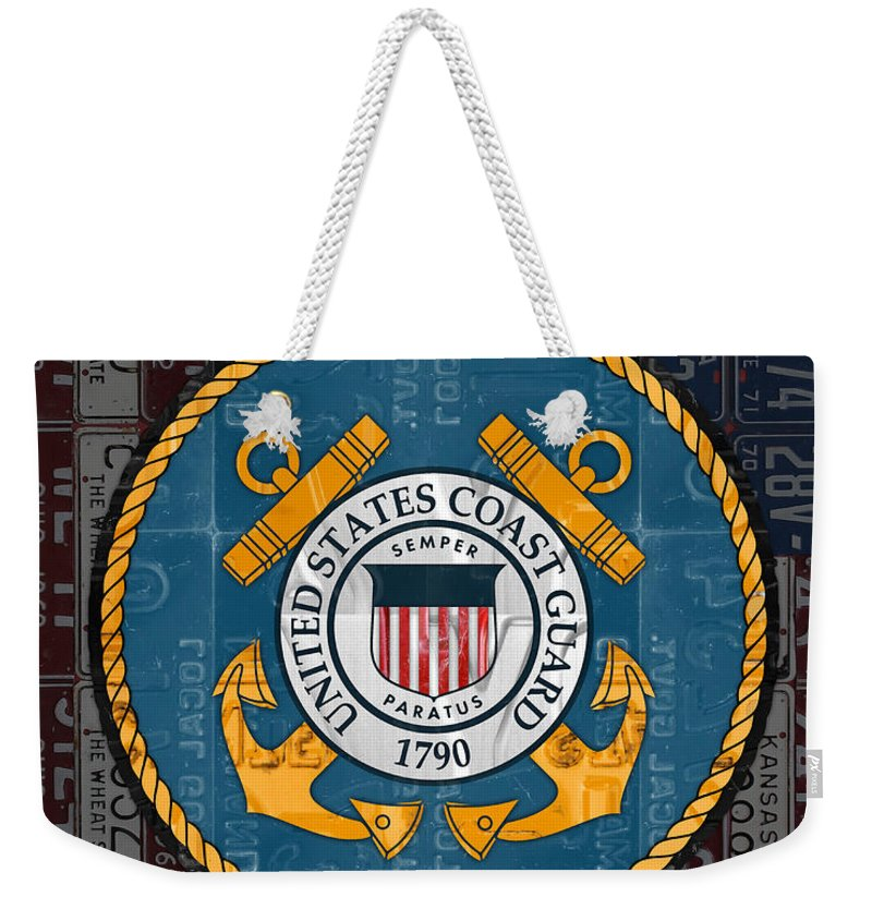 United States Weekender Tote Bag featuring the mixed media United States Coast Guard Logo Recycled Vintage License Plate Art by Design Turnpike