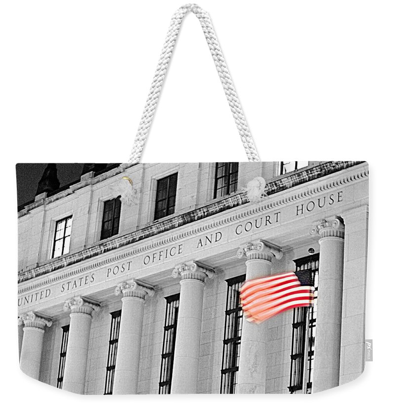 Architecture Weekender Tote Bag featuring the photograph United States Flag by Jill Reger