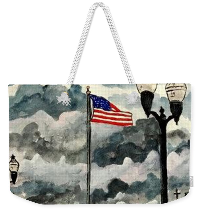 Usa Weekender Tote Bag featuring the painting United States Flag Over Alabama by Derek Mccrea