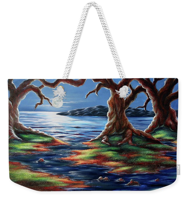 Textured Painting Weekender Tote Bag featuring the painting United Trees by Jennifer McDuffie