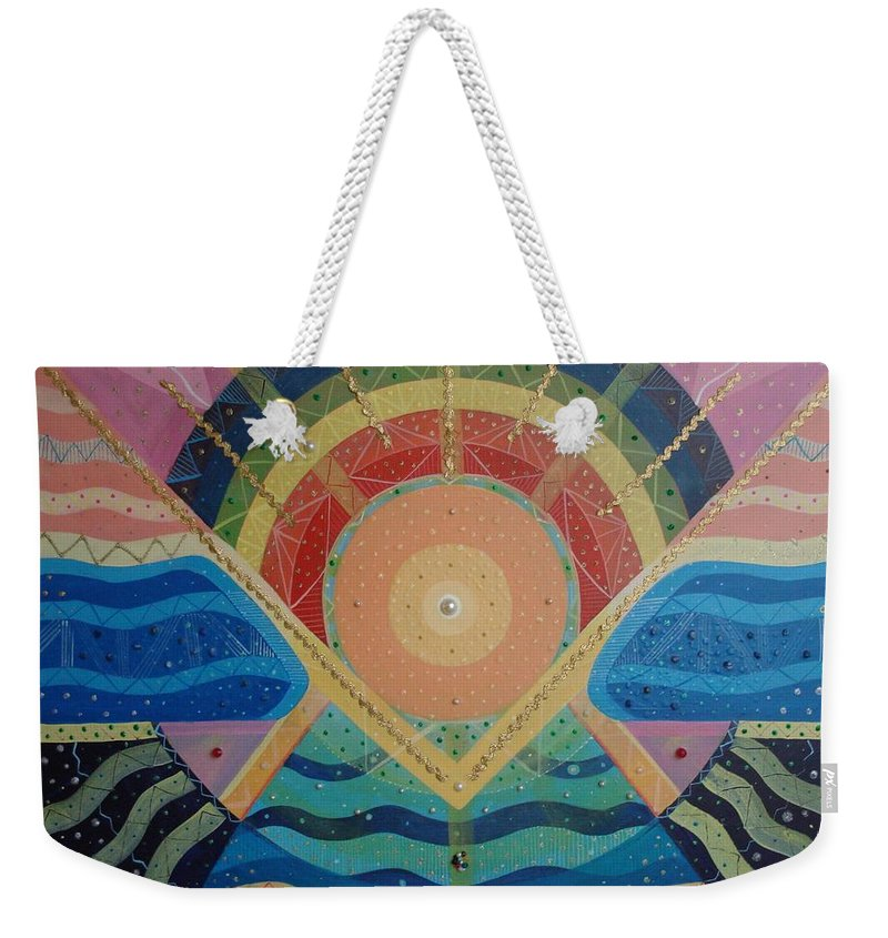 Unity Weekender Tote Bag featuring the mixed media Unity I Oneness by Helena Tiainen