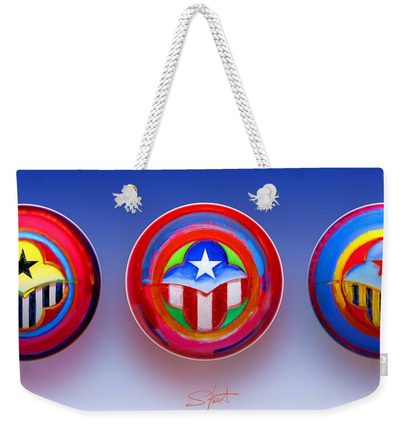 Trinity Weekender Tote Bag featuring the painting Unity In Diversity by Charles Stuart
