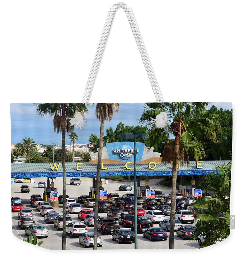 Universal Studios Florida Weekender Tote Bag featuring the photograph Universal Florida Parking Entrance by David Lee Thompson