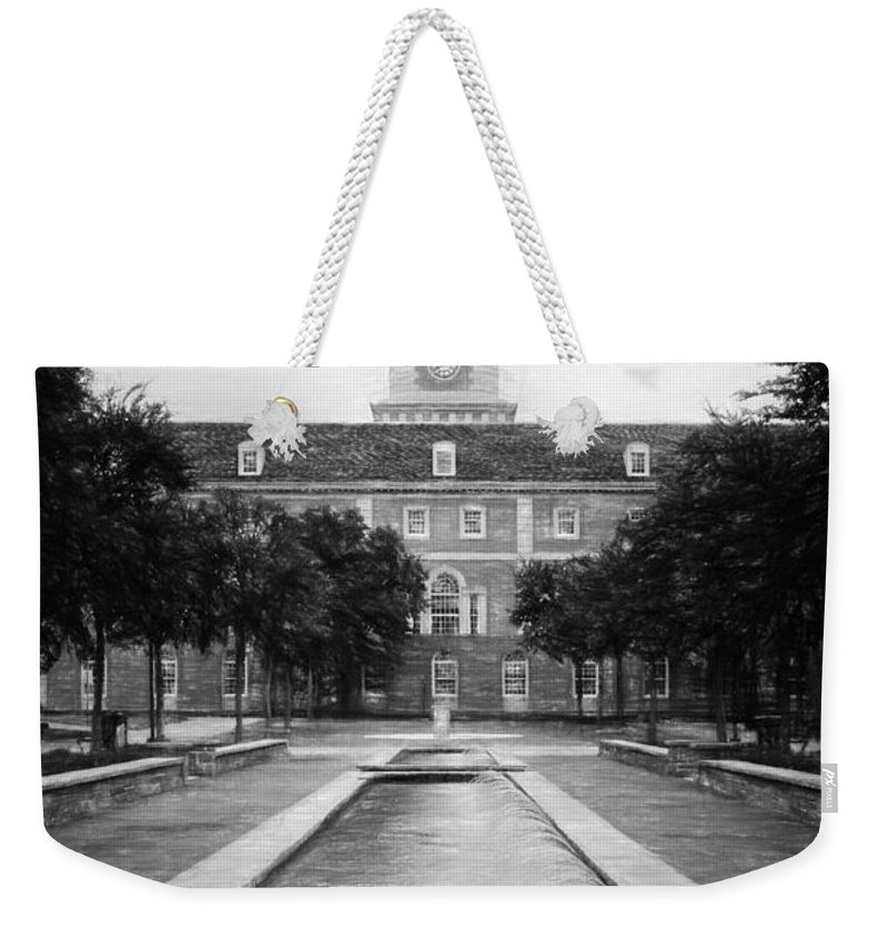 Joan Carroll Weekender Tote Bag featuring the photograph University Of North Texas Bw by Joan Carroll