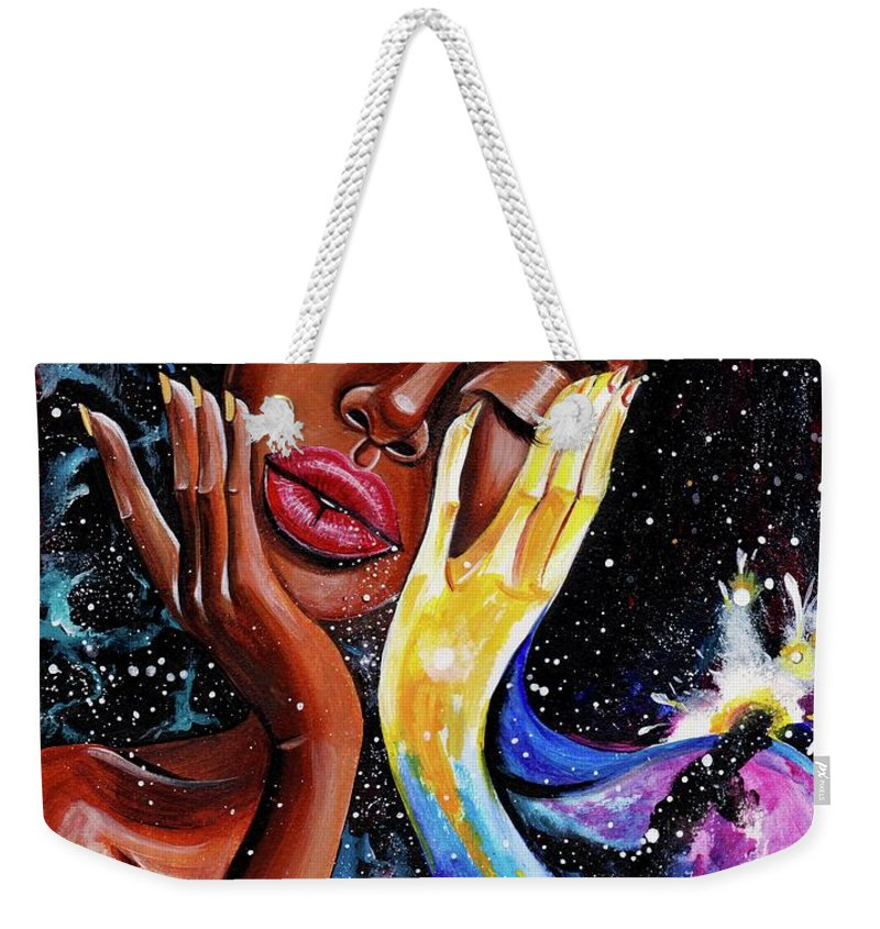 Universe Weekender Tote Bag featuring the painting Unlocked U.Never.See.All by Artist RiA
