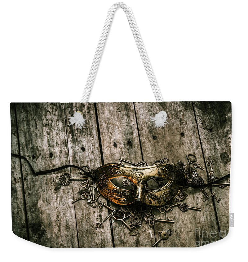 Destiny Weekender Tote Bag featuring the photograph Unlocking A Golden Mystery by Jorgo Photography - Wall Art Gallery