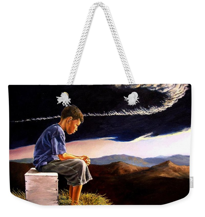 Mountain Weekender Tote Bag featuring the painting Unscarred Mountain by Christopher Shellhammer