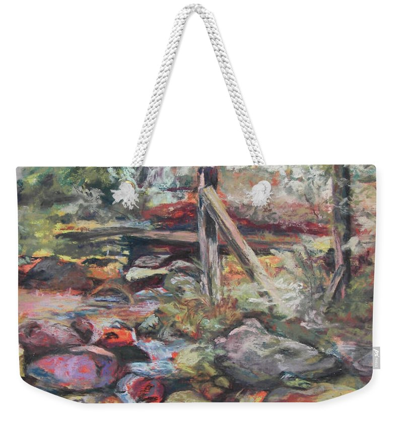 Landscape Weekender Tote Bag featuring the pastel Unseated On Trout Brook by Alicia Drakiotes