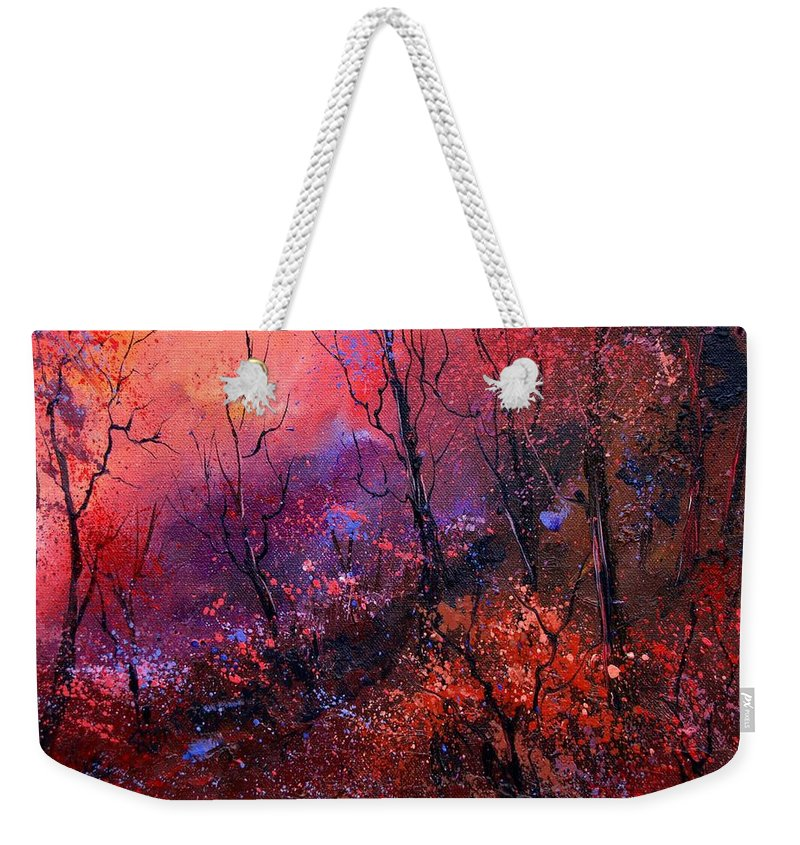 Wood Sunset Tree Weekender Tote Bag featuring the painting Unset In The Wood by Pol Ledent