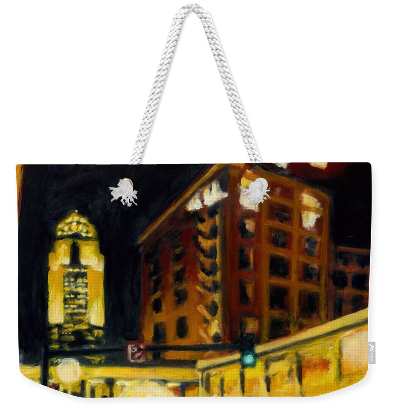 Rob Reeves Weekender Tote Bag featuring the painting Untitled in Red and gold by Robert Reeves