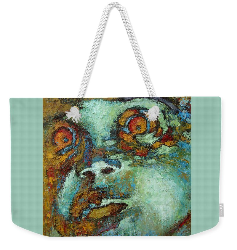 Oil Weekender Tote Bag featuring the painting Untitled by Ioulia Sotiriou