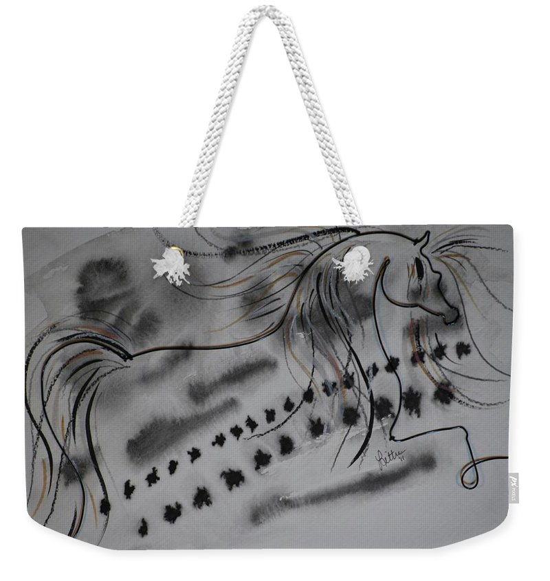 Horse Weekender Tote Bag featuring the painting Untitled by Leitha Stone