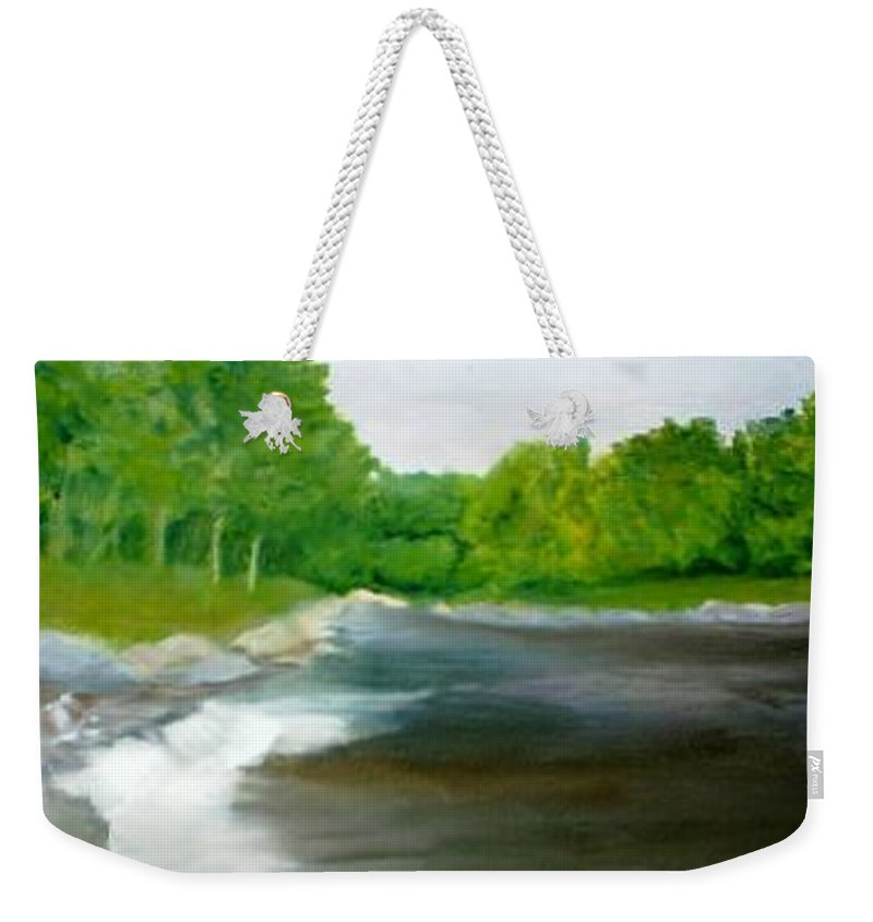 River Weekender Tote Bag featuring the painting Untitled Plein Aire by Sheila Mashaw
