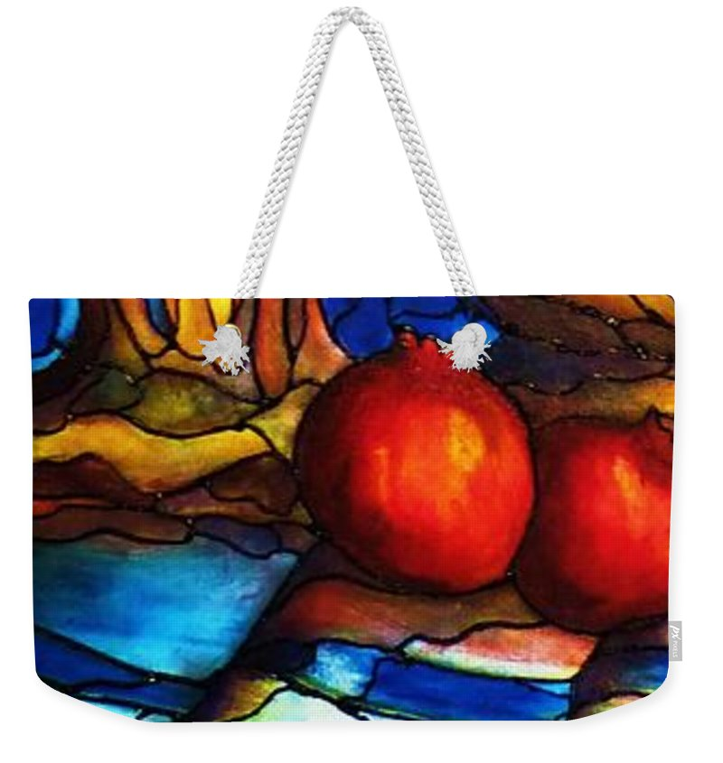 Original Art Weekender Tote Bag featuring the painting Still Life With Grapes And Pomegranates by Rae Chichilnitsky