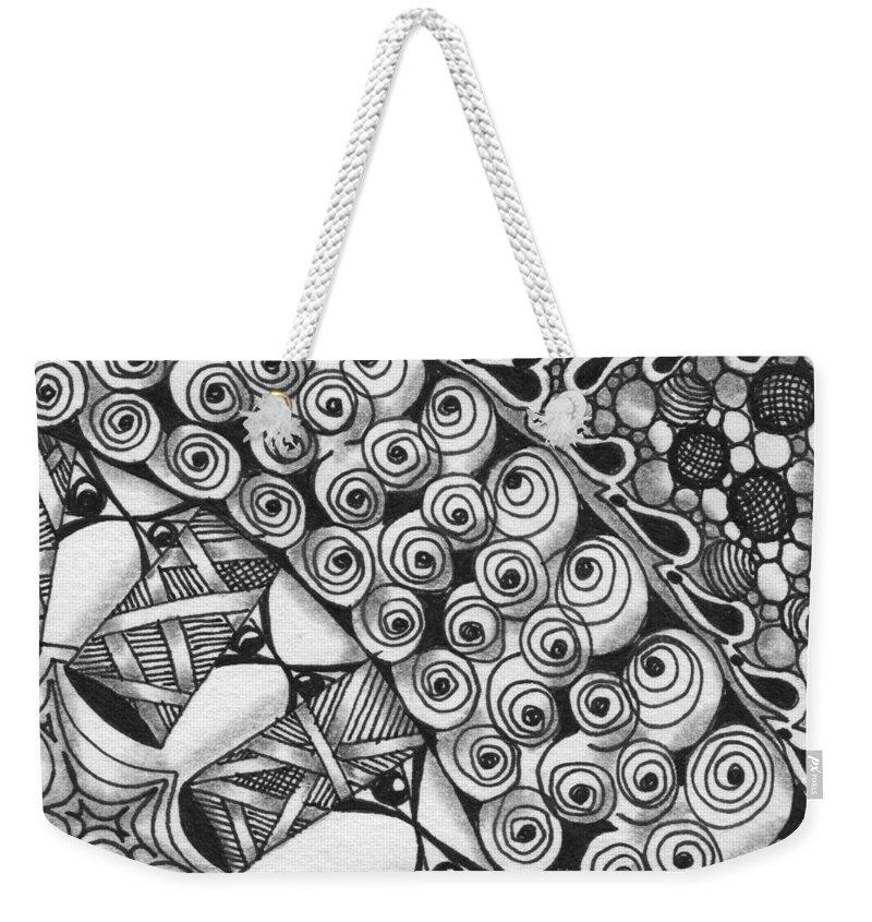 Zentangle Weekender Tote Bag featuring the drawing Untitled by Jan Steinle