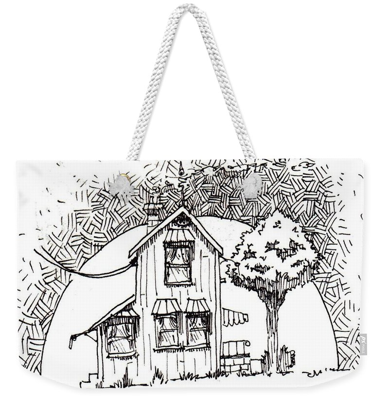 House Weekender Tote Bag featuring the drawing Untitled by Tobey Anderson