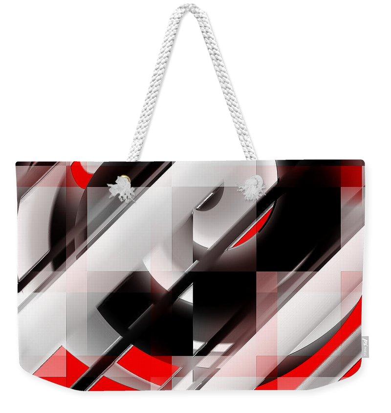 Red Weekender Tote Bag featuring the digital art Untitled X by Tiia Vissak