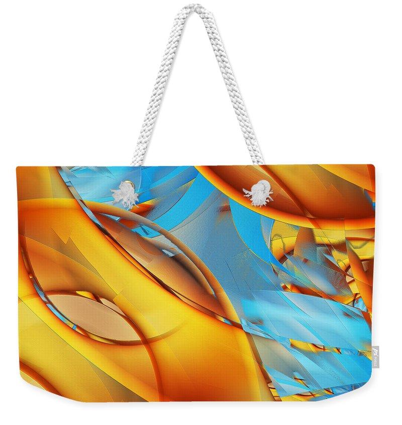 Orange Weekender Tote Bag featuring the digital art Untitled Xiii by Tiia Vissak