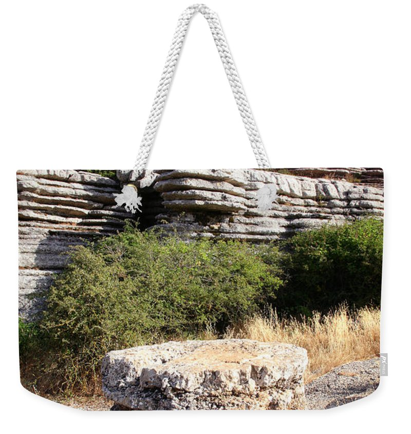 Limestone Weekender Tote Bag featuring the photograph Unusual Rock Formations In The El Torcal Mountains Near Antequera Spain by Mal Bray
