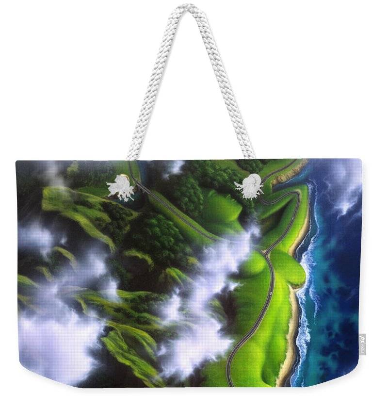 Coastline Weekender Tote Bag featuring the painting Unveiled by Jerry LoFaro