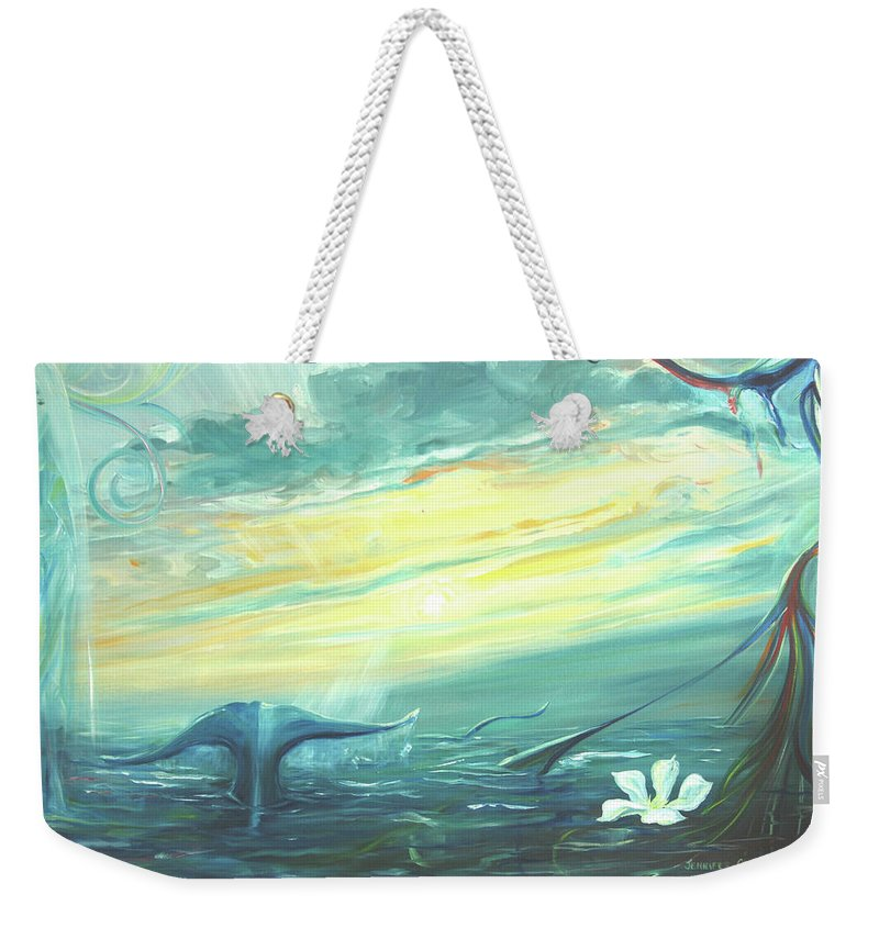 Whale Fluke Weekender Tote Bag featuring the painting Unveiling The Daystar by Jennifer Christenson