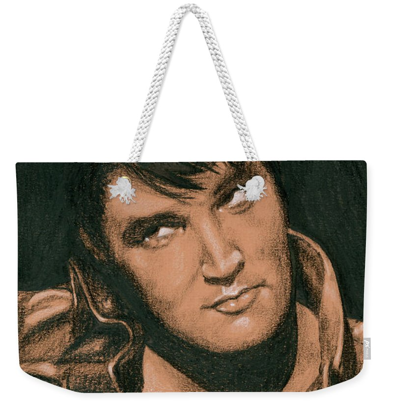 Elvis Weekender Tote Bag featuring the drawing Up Above My Head by Rob De Vries