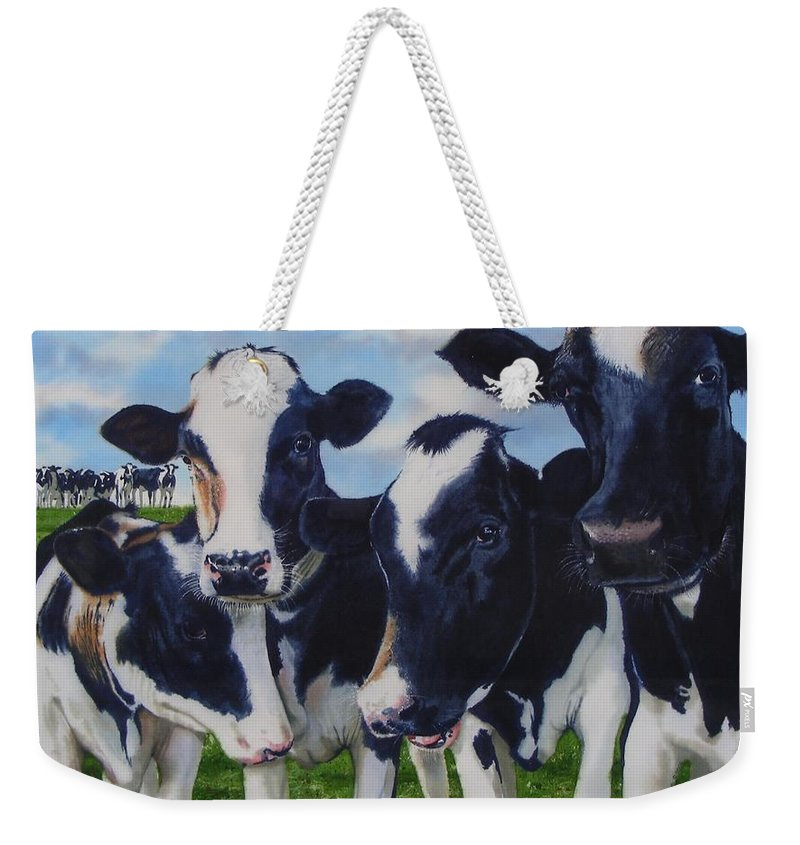 Cows Weekender Tote Bag featuring the painting Up Front by Denny Bond