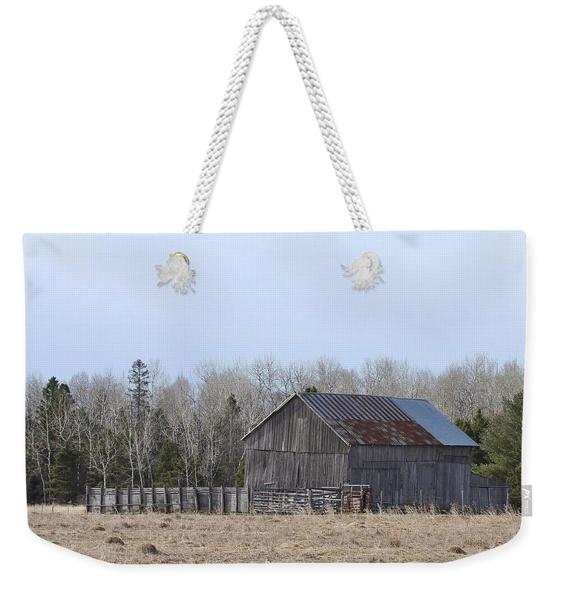 Old Barn Weekender Tote Bag featuring the photograph U.p. Historical Barn by Teresa McGill