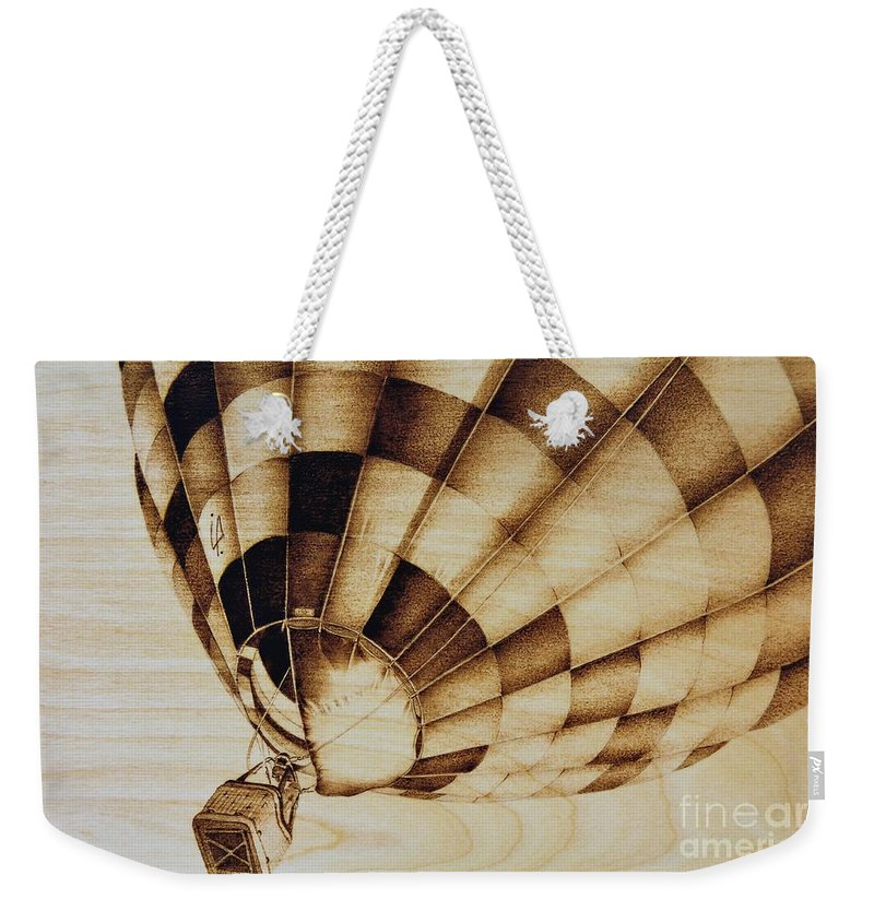 Balloon Weekender Tote Bag featuring the pyrography Up by Ilaria Andreucci