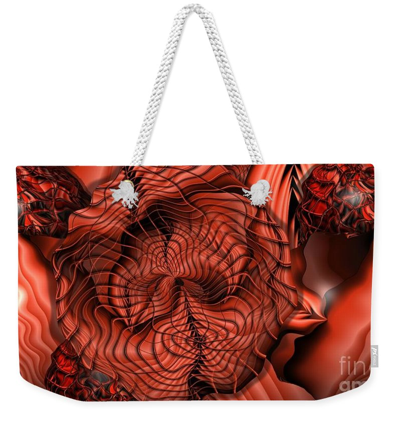 Flame Weekender Tote Bag featuring the digital art Up In Flame by Ron Bissett