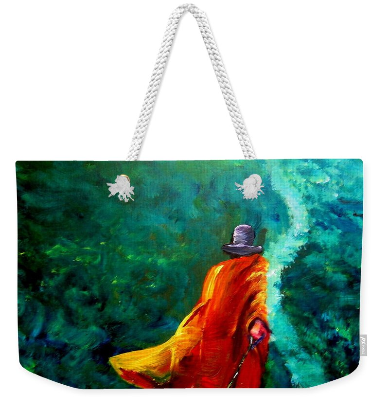 Expressionist Weekender Tote Bag featuring the painting Up That Hill by Jason Reinhardt