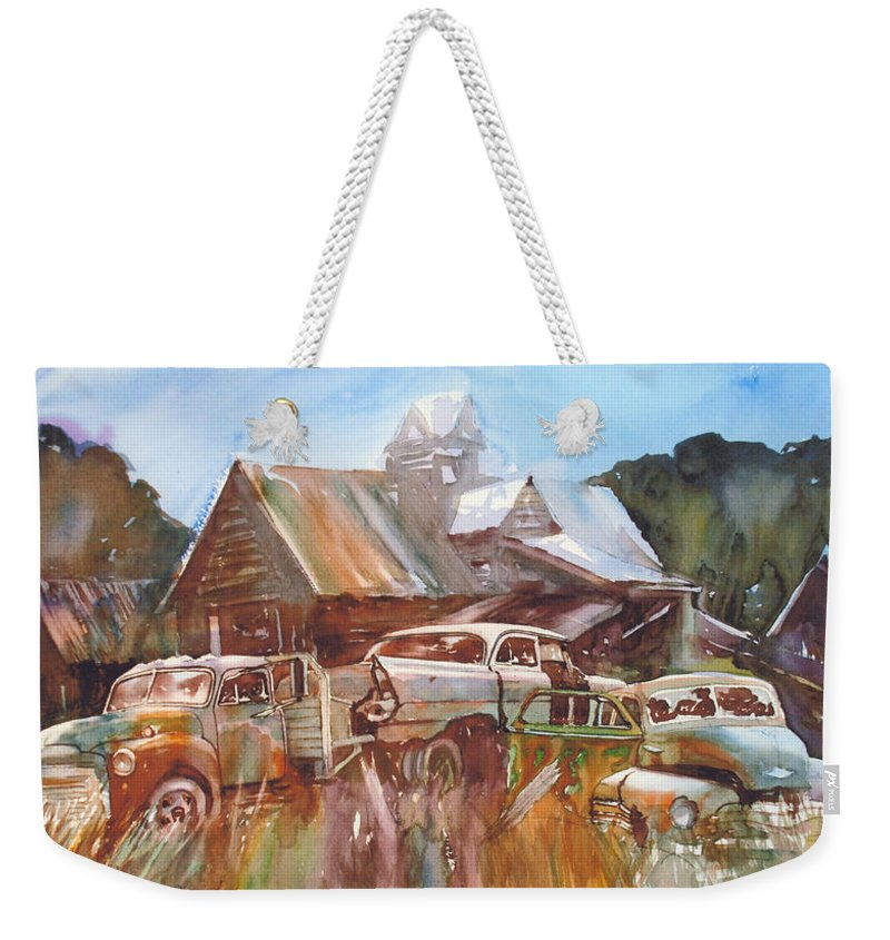 Chev Plymouth House Barn Weekender Tote Bag featuring the painting Up the Road a Bit by Ron Morrison